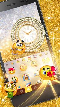 Goldglitterclock Keyboard Theme screenshot 1