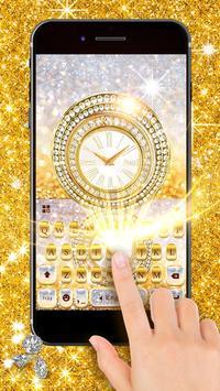 Goldglitterclock Keyboard Theme screenshot 2