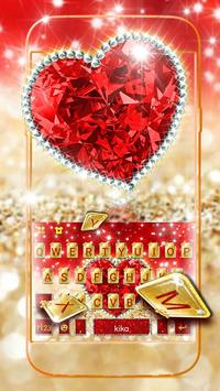 Golden Red Luxury Heart Keyboard Theme poster