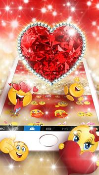 Golden Red Luxury Heart Keyboard Theme screenshot 2