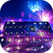 Luminous Purple Butterfly Keyboard Theme icon