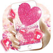 Pink Heart Glitter Keyboard Theme icon