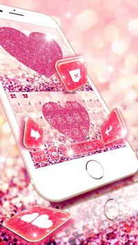 Pink Heart Glitter Keyboard Theme poster
