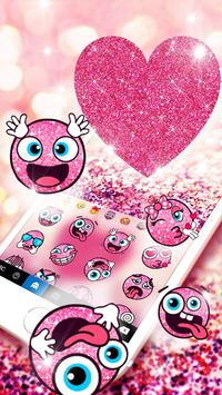Pink Heart Glitter Keyboard Theme screenshot 1
