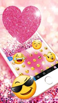 Pink Heart Glitter Keyboard Theme screenshot 2
