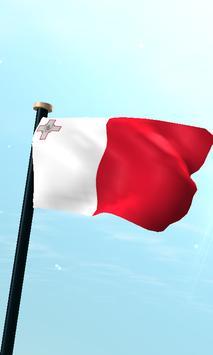 Malta Flag 3D Free Wallpaper poster