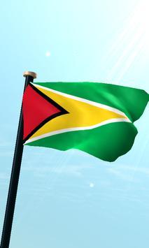 Guyana Flag 3D Free Wallpaper poster