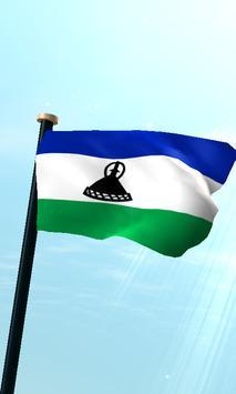 Lesotho Flag 3D Free Wallpaper poster