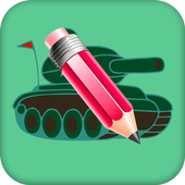Drawing tanks is the training for children icon