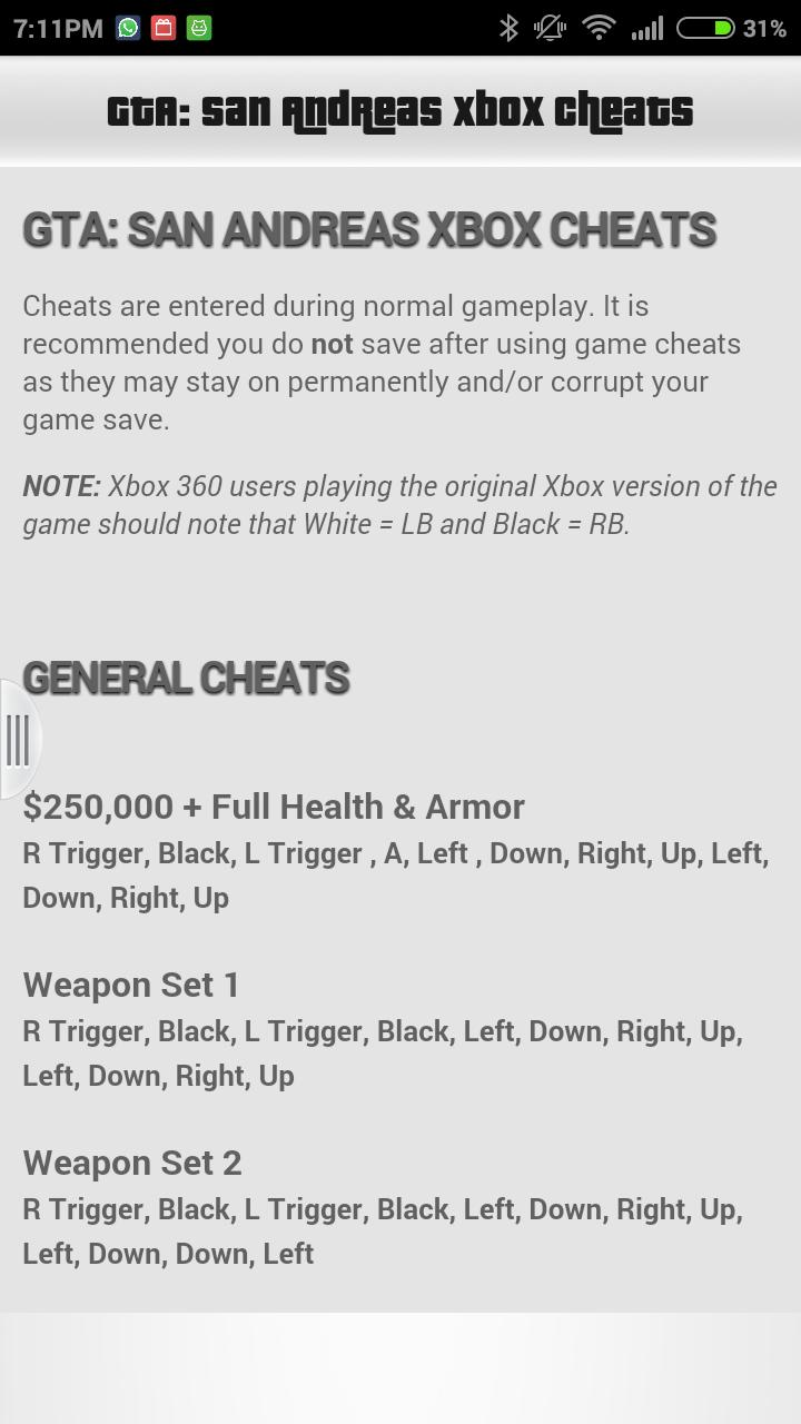 GTA San Andreas Cheats for Android - APK Download
