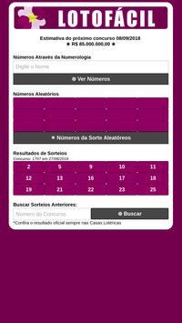 Lotofácil - Gerador de Números pelo Nome poster