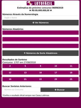 Lotofácil - Gerador de Números pelo Nome screenshot 4