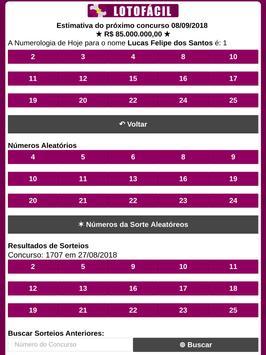 Lotofácil - Gerador de Números pelo Nome screenshot 5