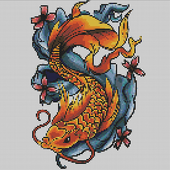 Tattoo Color By Number Draw Book Page Pixel Art icon