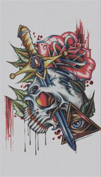 Tattoo Color By Number Draw Book Page Pixel Art screenshot 3