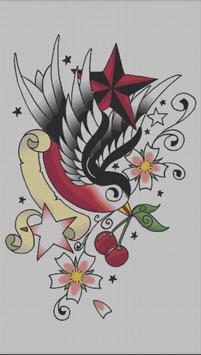 Tattoo Color By Number Draw Book Page Pixel Art poster