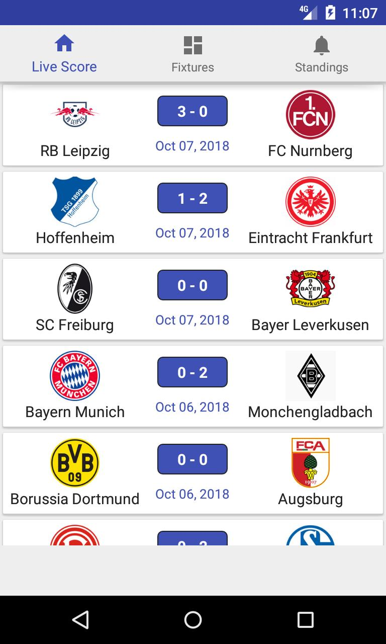 Bundesliga 2018 Live Score Fixtures Standings For Android Apk Download