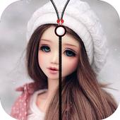 cute barbie doll zipper lock icon