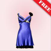 Women long dress photo montage icon