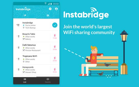 Instabridge - واي فاي مجاني الملصق