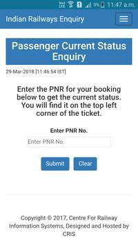 Train Live PNR Status : Train Inquiry poster