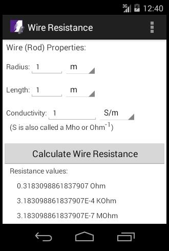 Wire Resistance Calculator for Android - APK Download