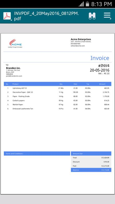 simple invoice manager apk screenshot