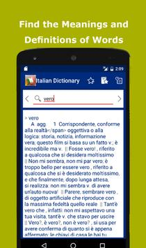 Italian Explanatory Dictionary. Words definitions poster