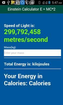 Einstein Calculator E=MC*2 apk screenshot