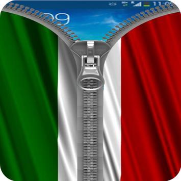 Italy Flag Zipper Screenlock poster