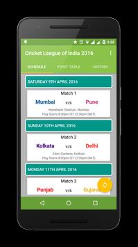 Cricket League of India 2016 poster
