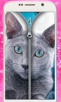 Blue Cat Lockscreen:Blue Cute Cat Zipper 2017 poster