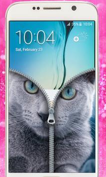 Blue Cat Lockscreen:Blue Cute Cat Zipper 2017 apk screenshot