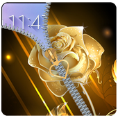 Golden Rose Zipper Lockcreen: Rose lock screen icon