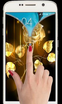 Golden Rose Zipper Lockcreen: Rose lock screen apk screenshot