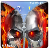 Fire Skull Zipper Lockscreen: Skull Lockscreen icon