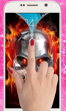 Fire Skull Zipper Lockscreen: Skull Lockscreen screenshot 8