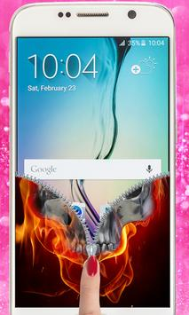Fire Skull Zipper Lockscreen: Skull Lockscreen apk screenshot