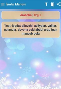 İsmlar Manosi - узбек исм apk screenshot