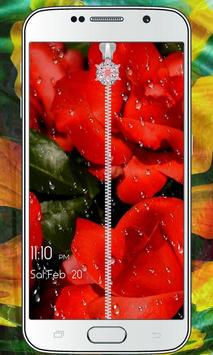 Flower Zipper Lock Screen apk screenshot