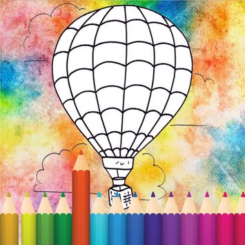 coloring Hot Air Balloon poster