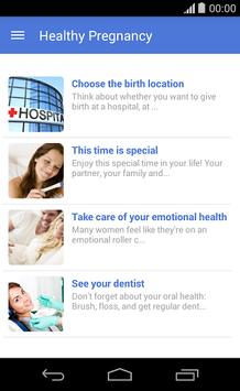 Tips for a healthy pregnancy poster