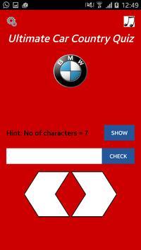 Ultimate Car Country Quiz screenshot 1