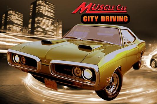 Old Muscle Car City Driving poster