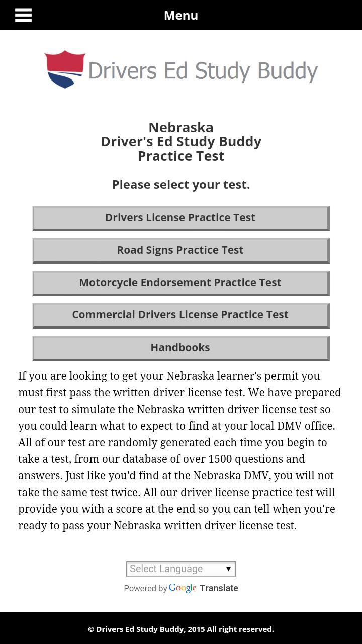 nebraska drivers license practice test