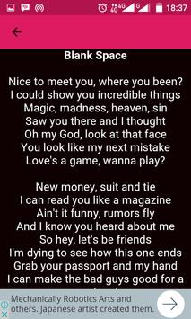Taylor Swift Song Lyric apk screenshot