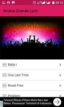 Ariana Grande Song Lyric apk screenshot