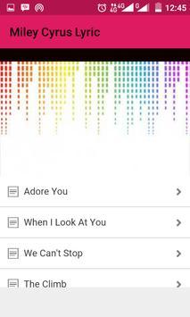 Miley Cyrus Song Lyric apk screenshot