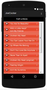 Joe Cocker Top Songs & Hits Lyrics. screenshot 1