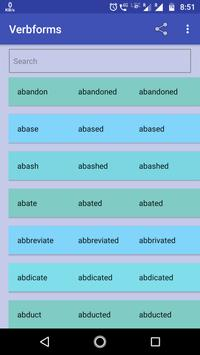 Verb forms -Complete List English Verbs Dictionary poster